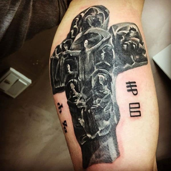Mens Cross Stone Tattoo Ideas On Arm