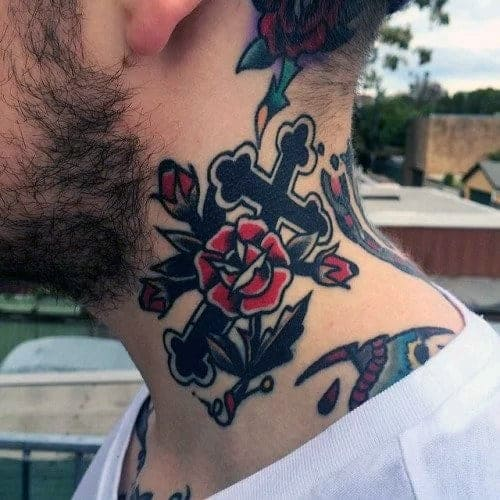 mens-cross-with-red-rose-flowers-traditional-neck-tattoo-ideas
