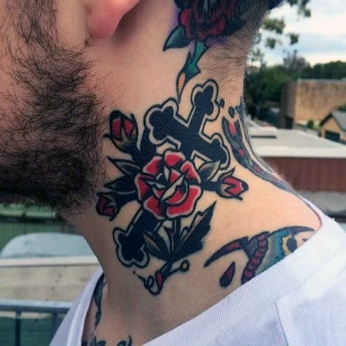 Mens Cross With Red Rose Flowers Traditional Neck Tattoo Ideas