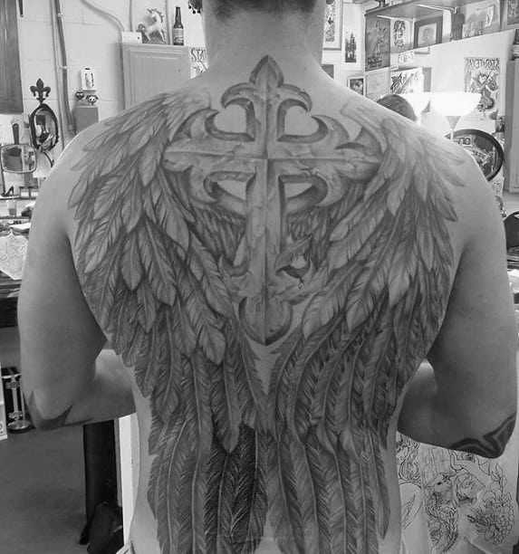 Mens Cross With Wings Unique Back Tattoos