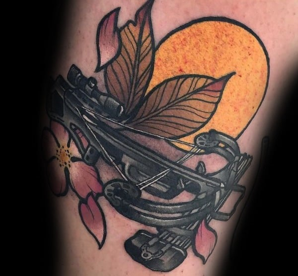Mens Crossbow Leaf With Sun Bowhunting Tattoo Designs