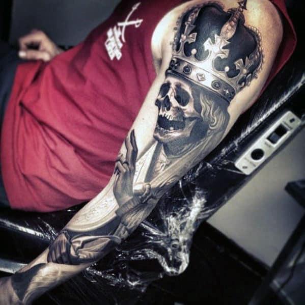 Men's Crowned Skull Full Sleeve Tattoos