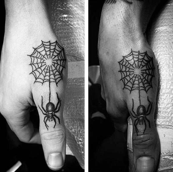 Mens Cute Spider And Web Tattoo On Thumb