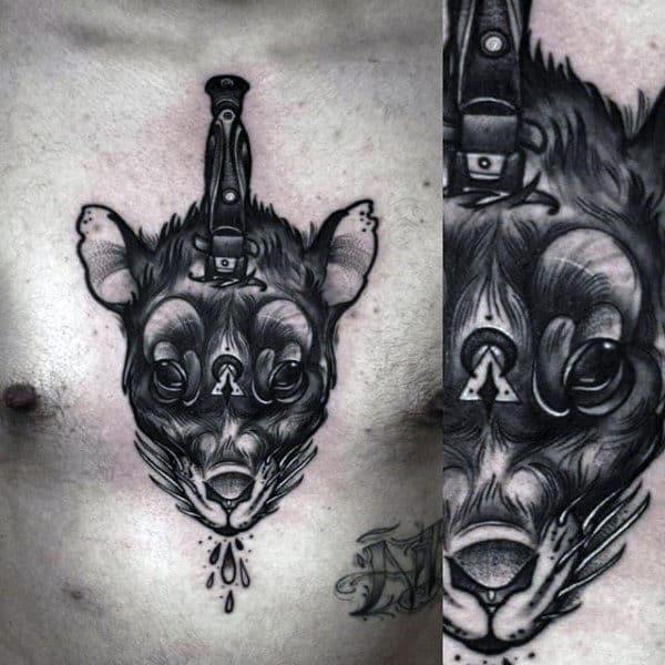 Mens Dagger Rat Upper Chest Tattoos