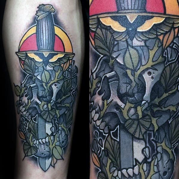 Mens Dagger With Skull And Thorns Unique Inner Forearm Tattoos