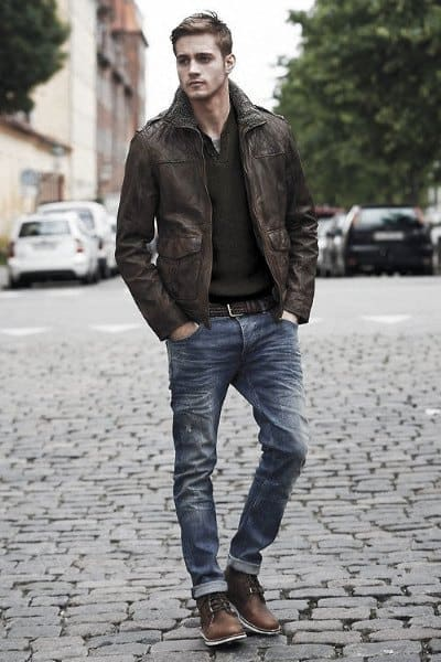 Mens Dapper Fall Outfits Style Ideas Brown Leather Jacket With Jeans And Brown Shoes