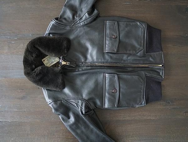 Mens Dark Brown Fur Cockpit Usa G 1 Flight Leather Jacket Front