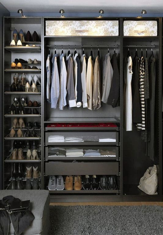 Mens Dark Grey Organized Closet Ideas