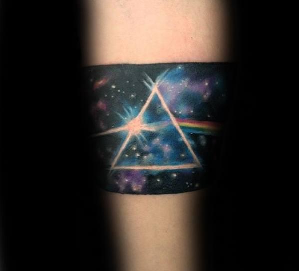Mens Dark Side Of The Moon Forearm Band Tattoo Ideas