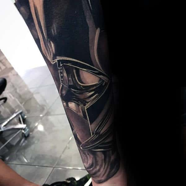 Mens Darth Vader Inner Forearm 3d Tattoo