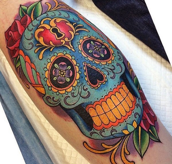 Mens Day Of The Dead Sugar Skull Tattoos