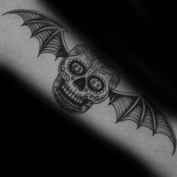 Mens Day Of The Dead Themed Deathbat Forearm Tattoo