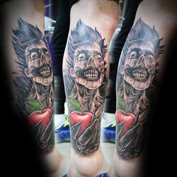 Mens Death Note Leg Sleeve Tattoo Design Ideas
