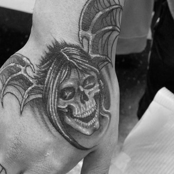 Mens Deathbat Skull With Wings Hand Tattoo