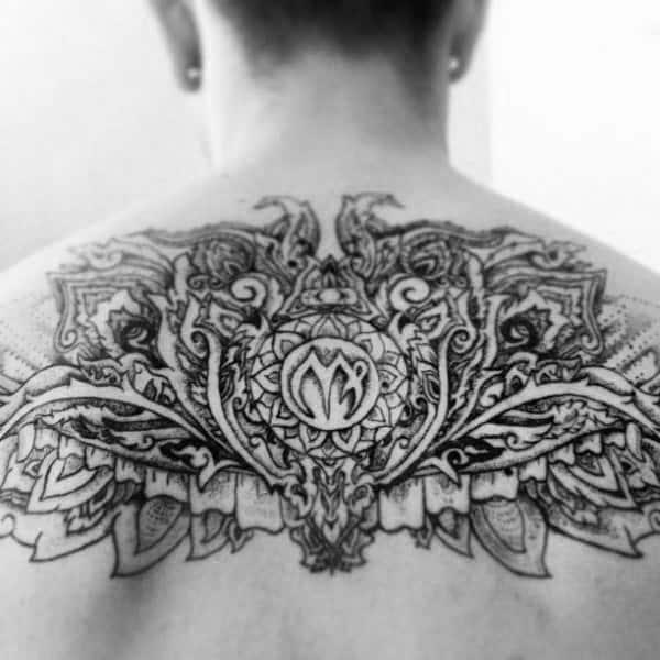 Mens Decorative Back Virgo Tattoos