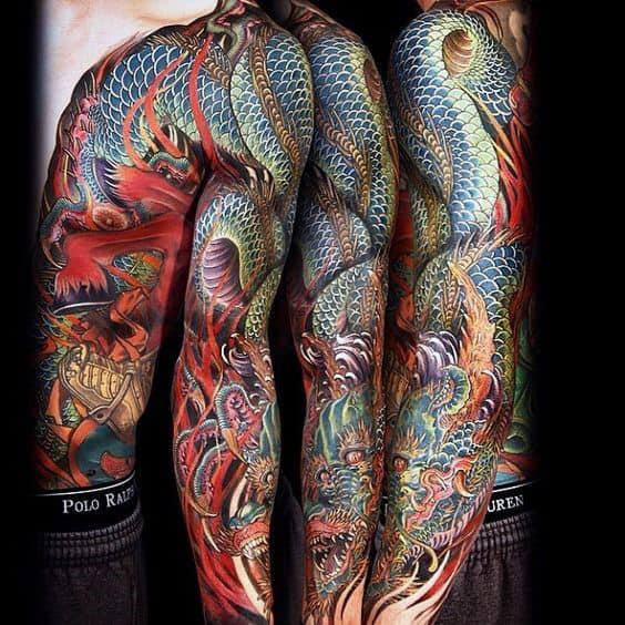 Mens Decorative Japanese Sleeve Tattoo