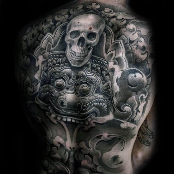 Mens Decorative Skull Aztec Badass Back Tattoos