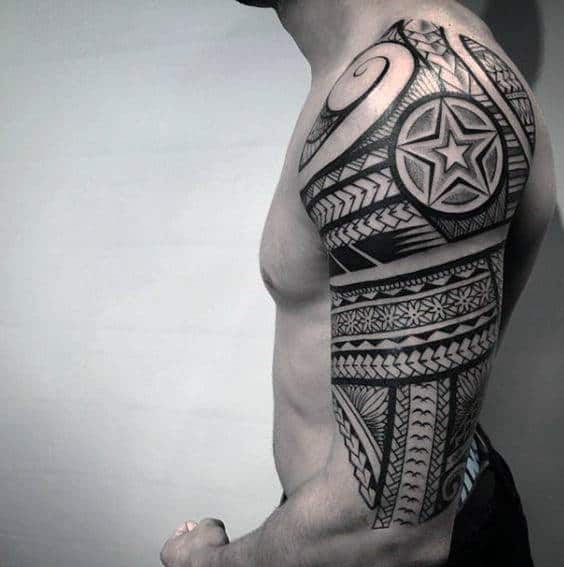 Mens Decorative Tribal Half Sleeve Tattoo Inspiration On Arm