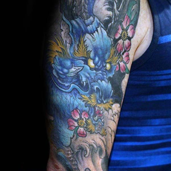 Mens Deep Blue Tattoo Of Japanese Dragon Half Sleeve Ideas