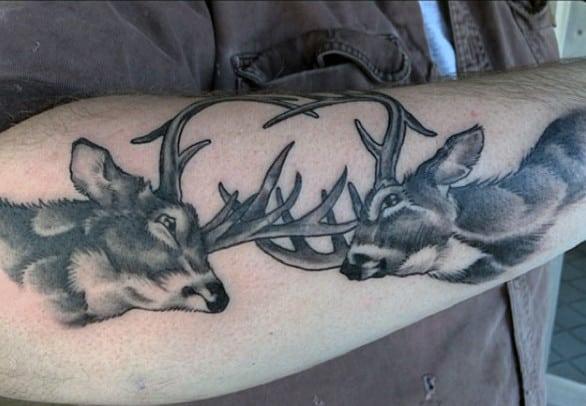 Mens Deer Antler Tattoo On Bicep