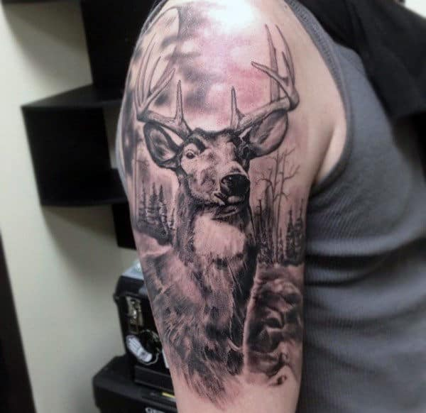 Mens Deer Hunting Tattoos Designs Upper Arm