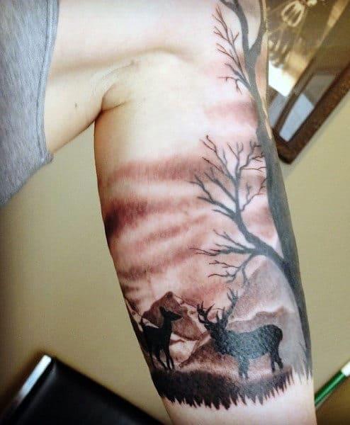 Men's Deer Hunting Tattoos