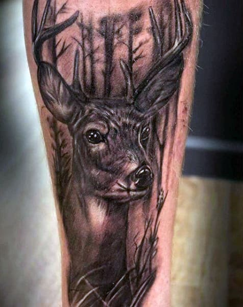 Mens Deer In The Woods Tattoo Design On Forearm