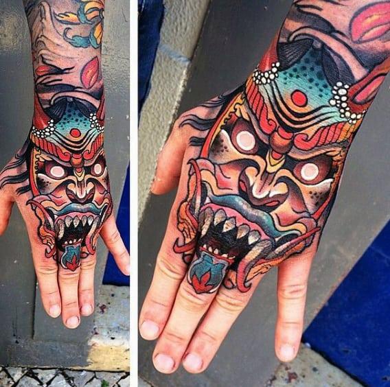 Mens Demon Mask Modern Hands Tattoo