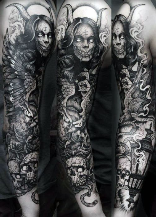 Mens Demonic Shaded Black And Grey Owl Sleeve Tattoos