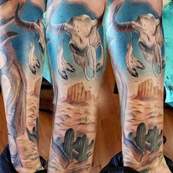 Mens Deset Bull Skull Sleeve Tattoos