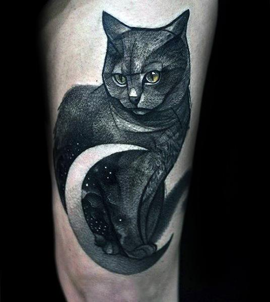 Mens Designs Cat Tattoo On Thigh