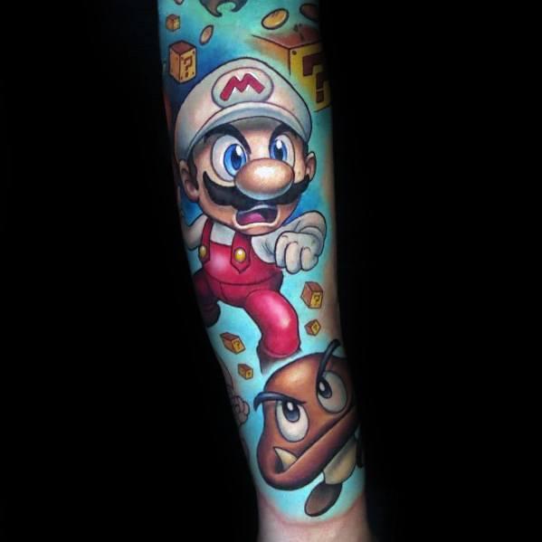 Mens Designs Mario Tattoo