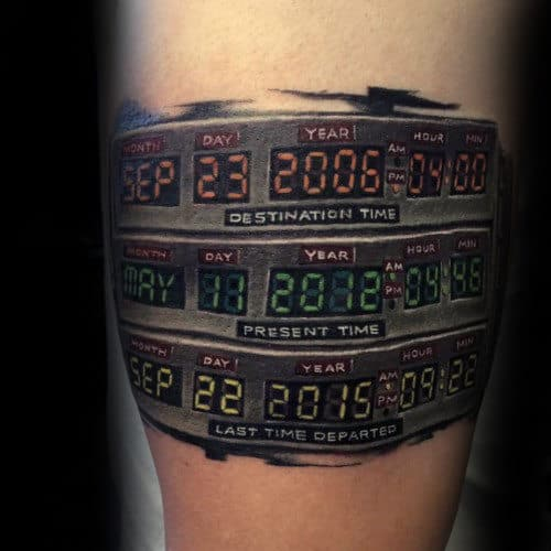 Mens Destination Time Clock Back To The Future Arm Tattoos