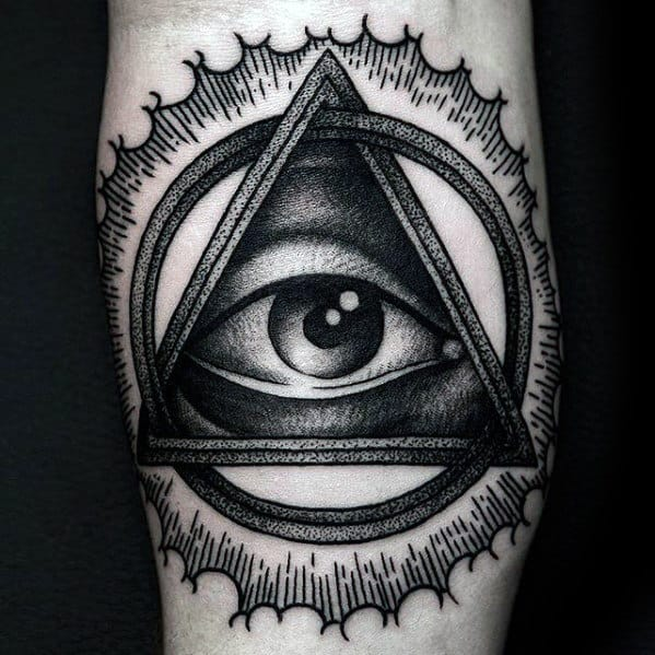 Mens Detailed 3d Eye Of Providence Inner Forearm Tattoos