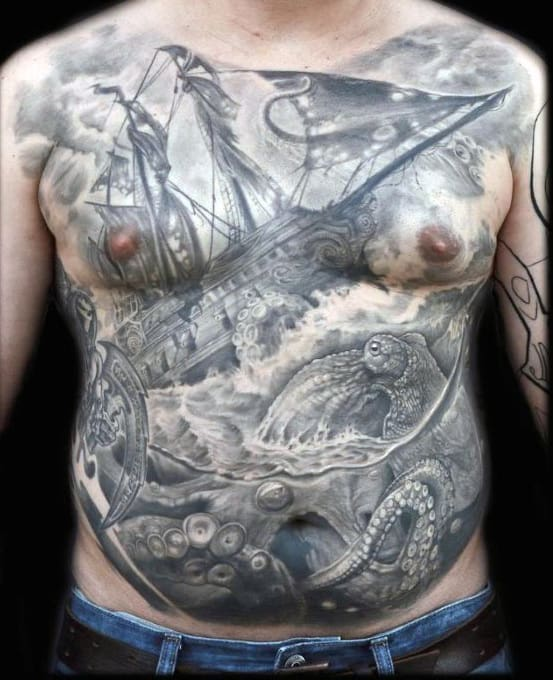 Mens Detailed 3d Sailing Ship With Octopus Full Chest Tattoo Ideas