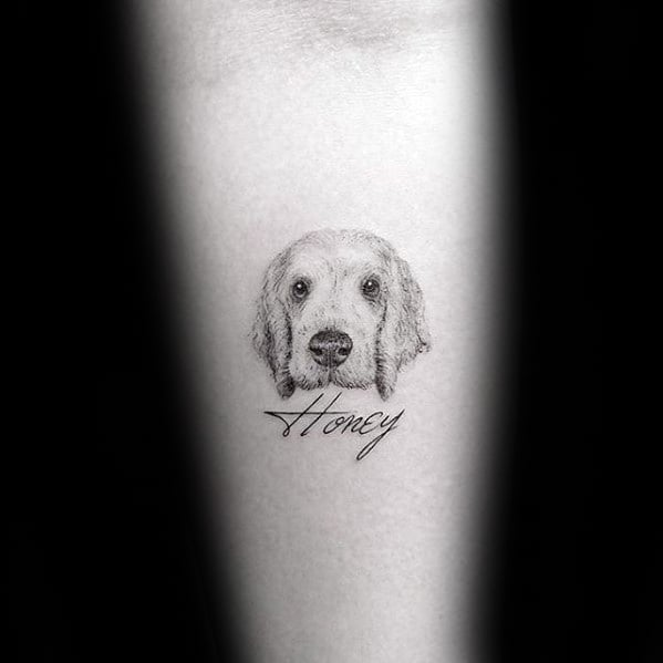 Mens Detailed Awesome Small Dog Portrait Inner Forearm Tattoo