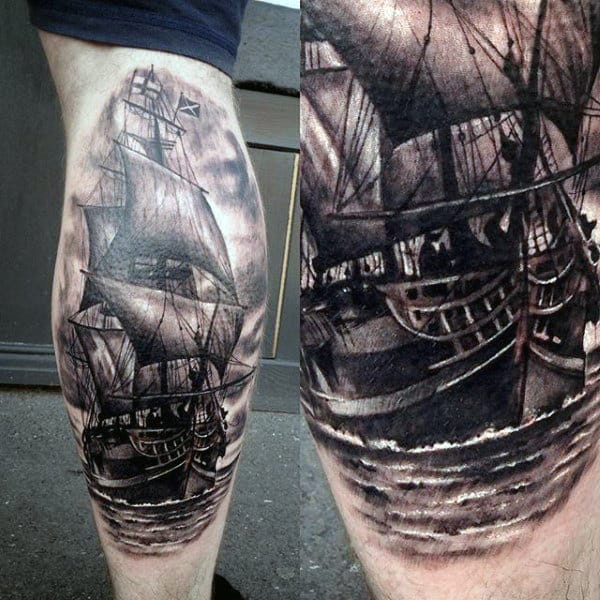 Mens Detailed Sailing Ship Back Of Leg Calf Tattoo Designs