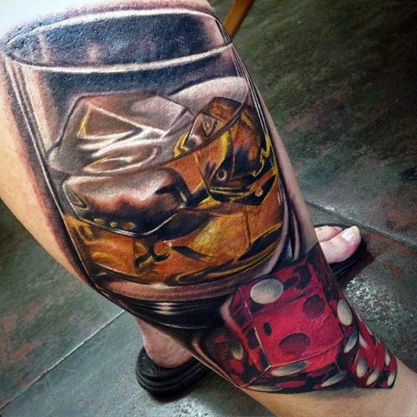 Mens Dice And Whiskey Glass Tattoo On Leg