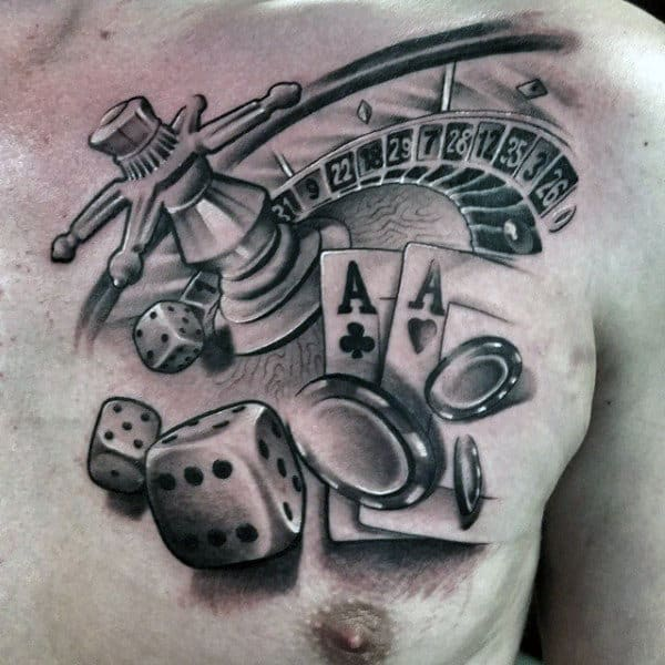 Mens Dice Tattoo With Cards And Chips On Upper Right Chest