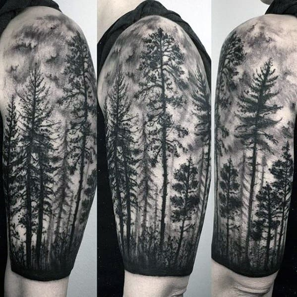 Mens Different Shaded Black And Grey Ink Forest Half Sleeve Tattoo