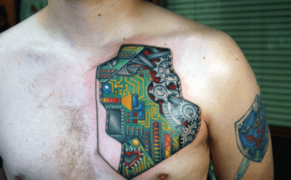 Mens Digital Circuit Board Upper Chest Tattoo With Gears