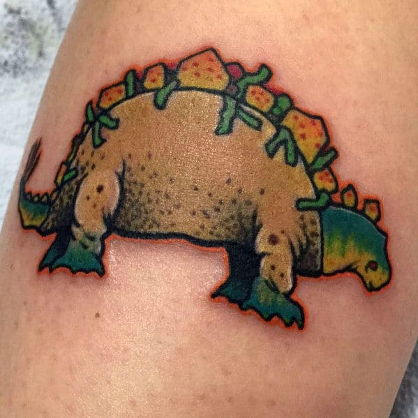 Mens Dinosaur Taco Themed Small Forearm Tattoo