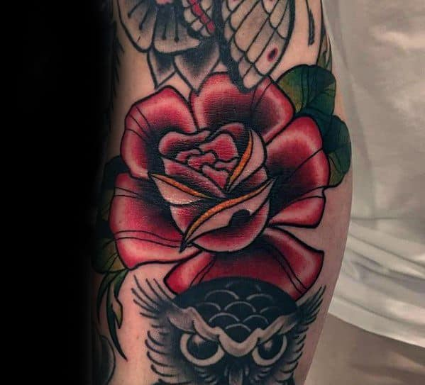 Mens Ditch Red Rose Flower Tattoo Ideas