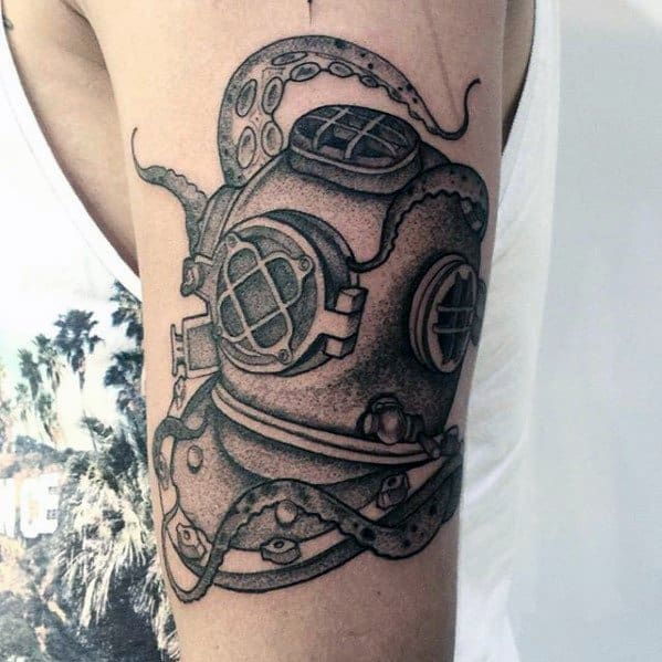 Mens Diving Helmet Tattoo Design Inspiration On Arm