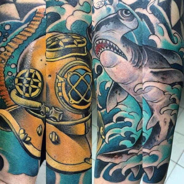 60 diving helmet tattoo designs for men deep sea ideas. Black Bedroom Furniture Sets. Home Design Ideas