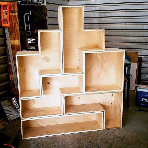 Mens Diy Man Cave Ideas Tetris Bookcase Made Of Wood