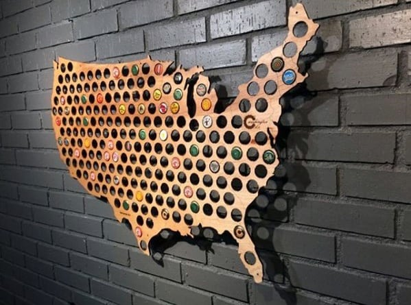Mens Diy Man Cave Ideas Usa Map With Bottle Caps