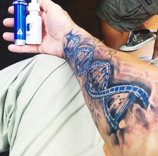 Mens Dna Forearm Science Tattoo In Blue Ink