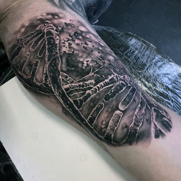 Mens Dna Life And Death Leg Calf Tattoo With Realistic 3d Design