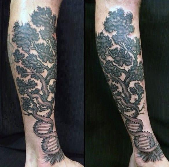 Mens Dna Tree Tattoo Design On Legs